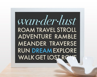 Wanderlust Travel Typography Print - Poster minimal art modern office den teen wall decor adventure aqua teal blue classic design inspire