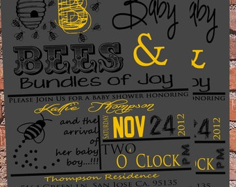Bumble Bee Boy Baby shower Invitation
