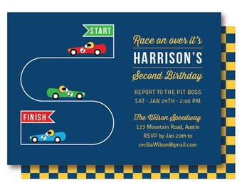 Race Car Birthday Invitation, Race Car Party Invitations, Printable or Printed
