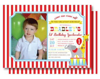 Circus Birthday Photo Invitation - Under the Big Top