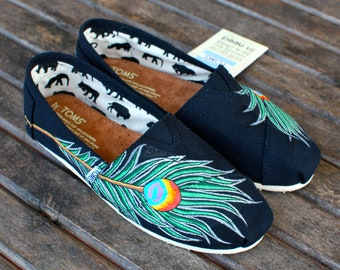 Hand Painted Peacock Feather TOMS - Custom Painted Black Canvas Toms Shoes