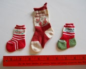 """Three Vintage Merry Christmas Miniature Cotton Knit Novelty Stockings Holiday Decorations 3-1/4"""" to 5-1/4"""""""