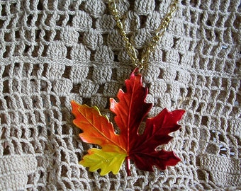 Large  Vermont Maple Leaf Pendant on Chain. Hand Painted.