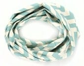 Chevron Scarf - Blue and Cream Infinity