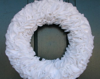 "White felt ruffle wreath - 15"" - white wreath - ruffle wreath - felt wreath - made to order"