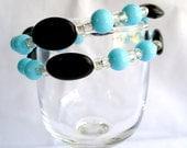 Robins egg blue bracelet, black bracelet, chunky, beaded wrap bracelet, stacking bracelet, blackstone jewelry
