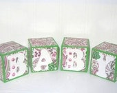 Pretty Pink and Green Paisley Baby Wooden Blocks for Nursery, Photo Prop or Shower Decoration Display. Great Gift for New Parents