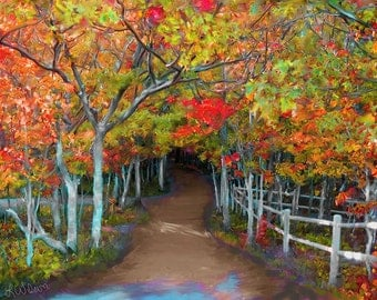 Autumn Fall Trees Art Forest Path Trail Oil Painting Print Lake of the Clouds Landscape 16x20 11x14 8x10 5x7 yellow red orange brown green