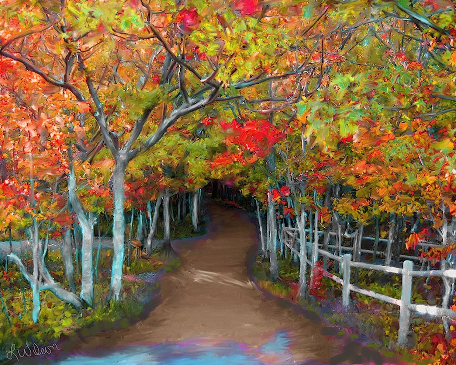 Autumn fall trees art forest path trail oil painting print for Autumn tree painting