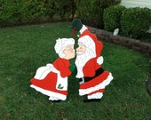 Santa Claus Kissing Mrs Claus Under the Mistletoe Handmade Wooden Lawn Ornament