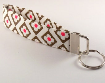 Wristlet Key Fob in White Brown and Pink Floral