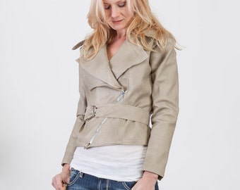 Woments Beige Faux Leather Fitter Motocycle Belted Jacket