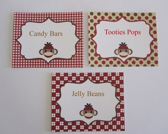 6 Sock Monkey Personalized Food Tags