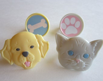 12 Puppy Bone Kitten Paw Cupcake Ring Toppers