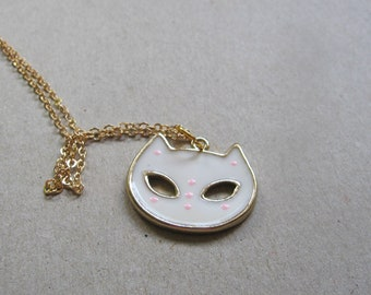 Little cat necklace - small cat mask pendant - halloween jewelry