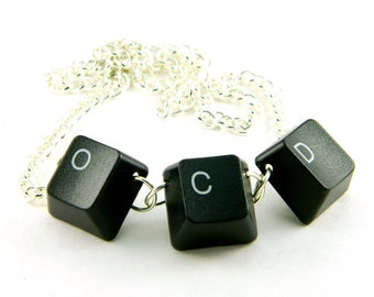 Unisex Necklace Recycled Computer Keyboard OCD