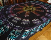 Handblocked square tablecloth with circle design - OOAK