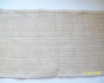 Hnandwoven Linen Material withHandspun Linen Thread. Vintage OOAK