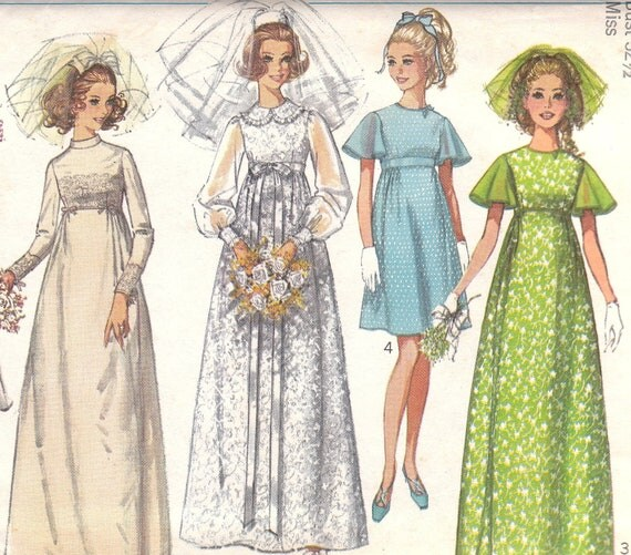 1970s empire waist wedding dress pattern by onemorecupoftea for Empire waist wedding dress patterns