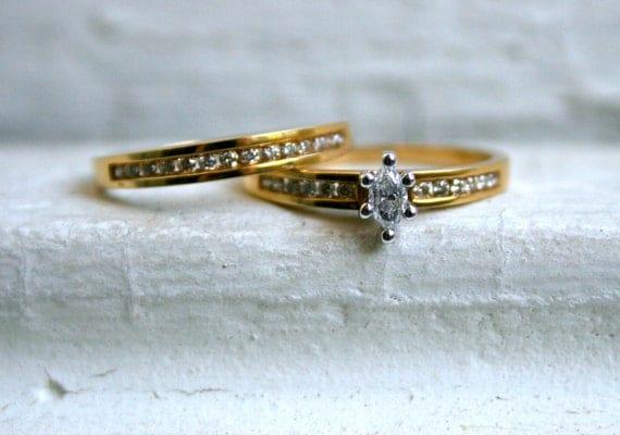 Classic Vintage 18K Yellow Gold Diamond Wedding Set - 0.53ct.