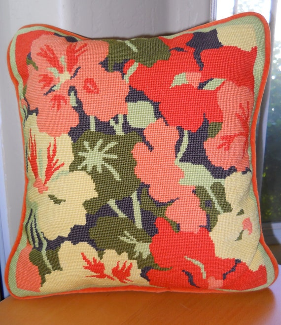 Vintage Needlepoint Floral Pillow Cover Mod Colors
