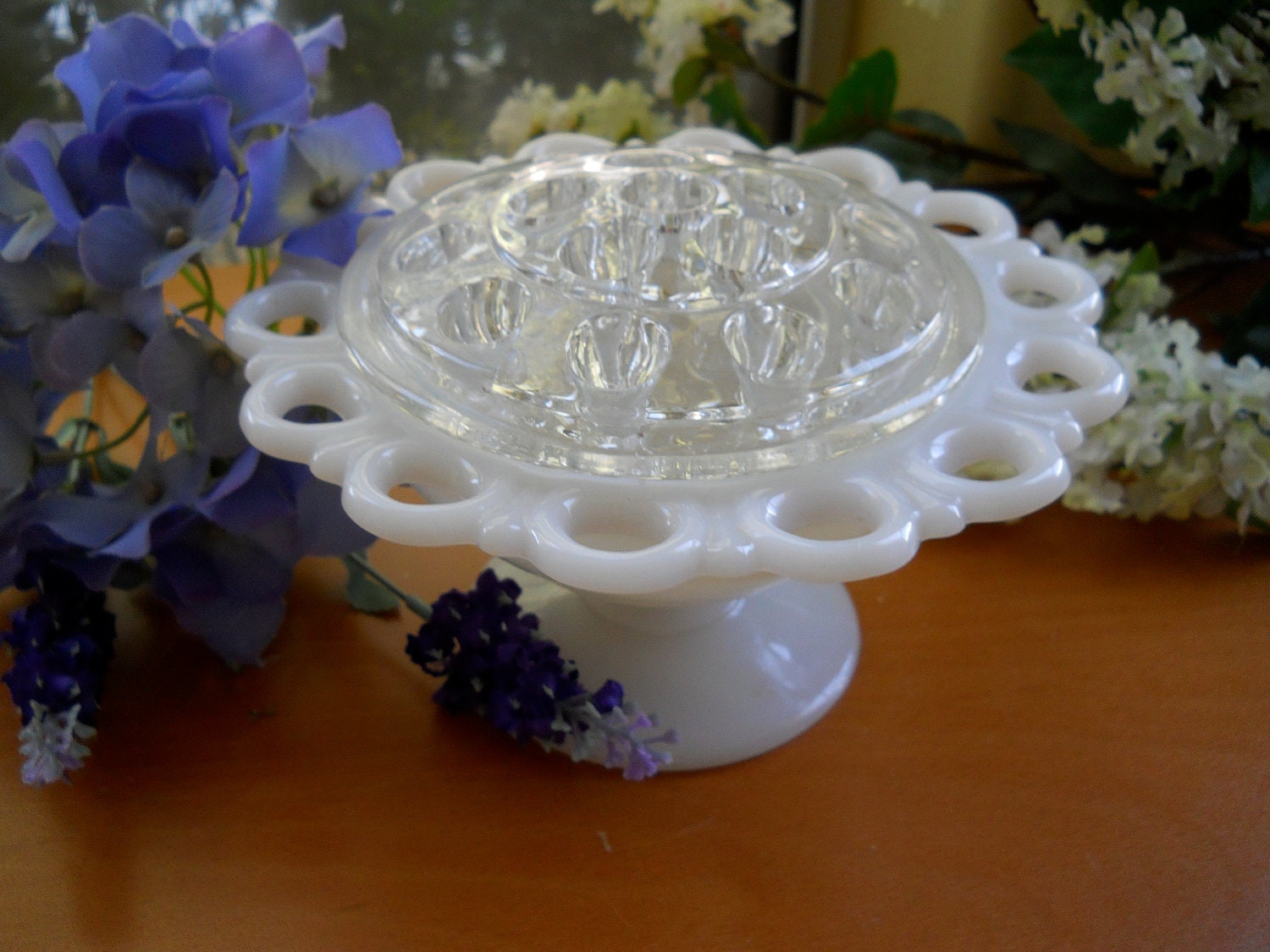 Vintage White Milk Glass Flower Bowl Or Vase And Glass Flower