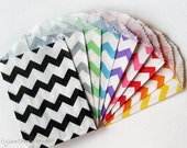 Sampler Pack, 36 Chevron Stripe Favor Bags,  Bitty Bags - 2.75 x 4 inches