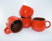 vintage FRANKOMA mug coffee orange tea kitchen brown set four