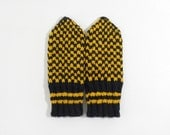 Hand Knitted Mittens - Black and Yellow, Size Small