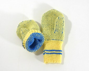 Hand Knitted Mittens - Yellow and Blue, Size Extra Small