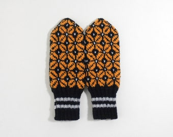 Hand Knitted Mittens - Black and Yellow, Size Medium