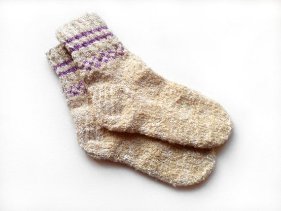 Hand Knitted Wool Socks - Beige, Size Large
