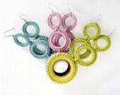 Pastel earrings crochet cotton textile jewelry by Aliquid