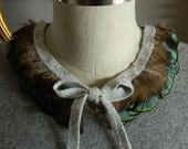 NEW Muliticolor Feather Collar Necklace with Adjustable Silver Lurex Angora Knit Ribbon Closure