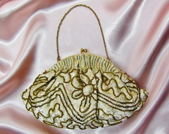 Vintage brocade purse with gold beading, c.1960's evening bag