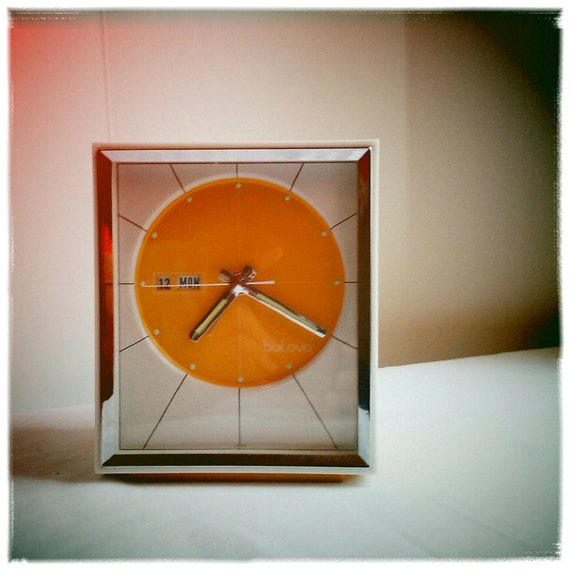 Vintage Sunburst Yellow Bulova Alarm Clock
