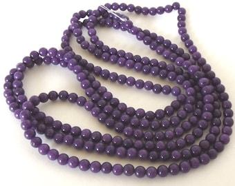 "Mountain Jade (dyed) Beads, Purple, 4mm Round - 16"" Strand"