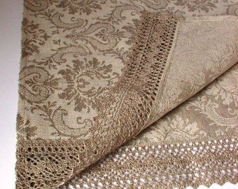 Linen Damask Table Runner /  Placemat for Two / Ecru Linen Cotton FRENCH-style pattern / Ecru Linen Lace
