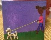 Poodle Dog Brooch - Mini Canvas Art  - For Dog lovers - Girl walking dog - Vintage brooch