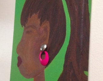 Original Canvas Art - Black Woman with pony tail.