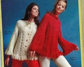 1970s Pullover Sweater Poncho & Button Up Cardigan - Knit patterns PDF 4562