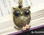 Owl Necklace - Pretty Oriental Owl Long Necklace - Antique Bronze Chain Necklace