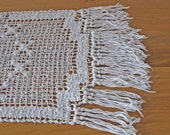 French filet lace fringed cloth