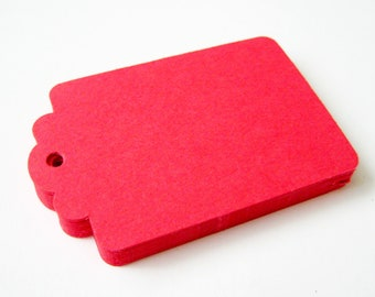 50 RED Hang Tag, Gift Tag, Price Tag Die cuts punches cardstock 2.25X1.5 inch -Scrapbook, cards