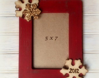 Christmas Frame Rustic Shabby Chic Decor Distressed Wood 8 x 10 Photo