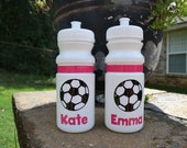 Personalized 20 oz. white soccer sports bottle