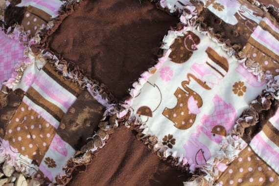 Pink and Brown Elephant Rag Quilt