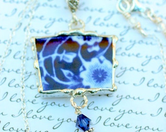Broken China Jewelry, Pendant Necklace, Calico Blue China, Sterling Silver Chain