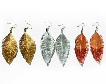 Dangle Earrings Metallic Glitter Dipped - Faux Leather Feather Earrings Accessories - Surgical Steel - FREE US SHIP