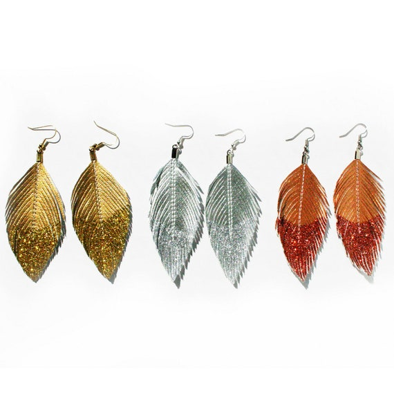 Dangle Earrings Metallic Glitter Dipped - Faux Leather Feather Earrings Accessories - Surgical Steel Available - FREE US SHIP